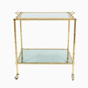 Faux Bamboo Brass Bar Cart with Removable Glass Tray, 1960s