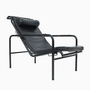 Black Leather Genni Chair by Gabriele Mucchi for Zanotta, 1960s
