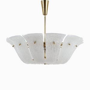 Curved & Textured Glass Chandelier from Kalmar, 1960s