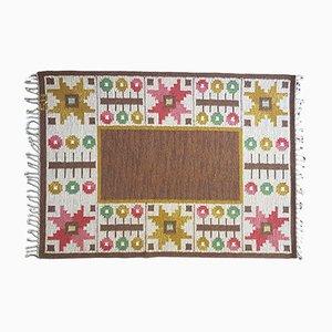 Vintage Swedish Brown Flat Weave Rölakan Carpet by Astrid Sampe