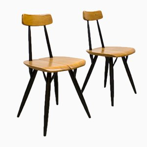 Mid-Century Scandinavian Pirkka Dining Chairs by Ilmari Tapiovaara for Laukaan Puu, Set of 2