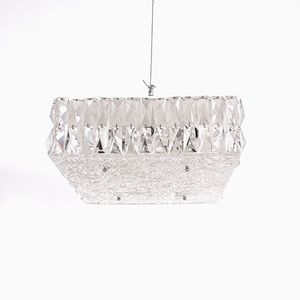 Mid-Century Textured Glass Square Flush Mount Ceiling Lamp by J.T Kalmar