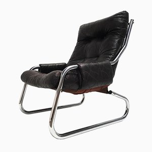 Chrome Lounge Chair with Patchwork Dark Brown Leather, 1970s