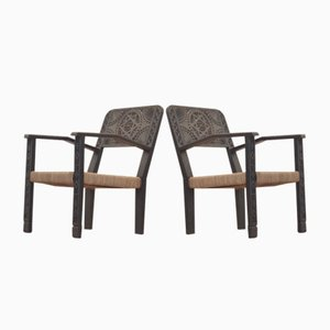 Vintage French Carved & Ebonized Wood & Rattan Lowback Easy Chairs