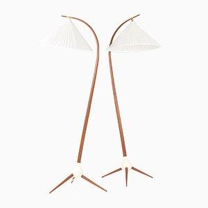 Teak Floor Lamps by Severin Hansen, 1950s, Set of 2