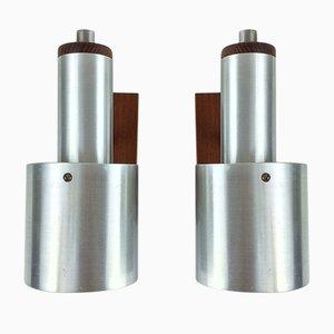 Mid-Century Teak, Messing und Aluminium Wandlampen von E.S. Horn, 2er Set