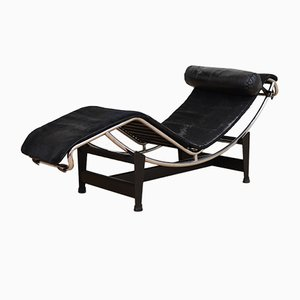 Vintage LC 4 Chaise Lounge with Pony Hide by Le Corbusier, Jeanneret, and Perriand for Cassina
