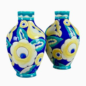 Art Deco Vases by Charles Catteau for Boch Freres Keramis, 1932, Set of 2