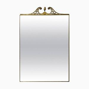 Large Italian Brass Framed Wall Mirror, 1950s