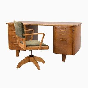 Schwedischer Art Deco Schreibtisch mit Drehstuhl, 1930er
