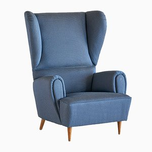 Vintage Wingback Chair in Rubelli Fabric by Paolo Buffa, 1940s