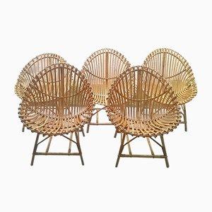 Italian Rattan Egg Shaped Chairs, 1950s, Set of 5