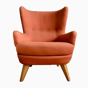 Wing Back Armchair in Orange Tweed, 1940s