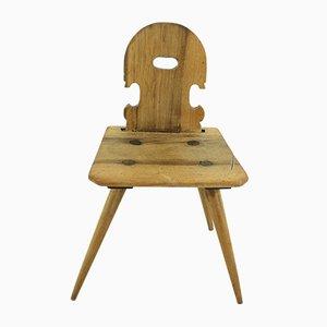 Antique Walnut Farmhouse Chair, 1850s