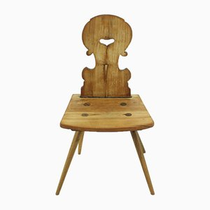 Antique Walnut Farmhouse Chair with Decorative Edges, 1850s