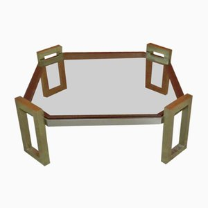 Square Brass and Smoked Glass Cocktail Table by Romeo Rega, 1970s