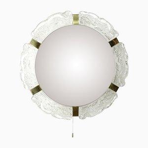 Specchio grande in stile Hollywood Regency con luce di Hillebrad Lighting