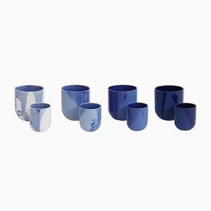 Sum Mugs in Blue Raw Finish by De Intuïtiefabriek, Set of 4