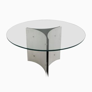 Round Pedestal Dining Table in Steel and Glass, 1970s