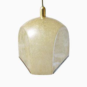 Vintage Tricia Fiberglass and Brass Suspension Lamp by Salvatore Gregorietti for Lamperti