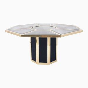 Oktogonaler Messing Esstisch von Roche Bobois, 1970er