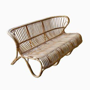 Vintage Bamboo and Cane Sofa by Viggo Boesen Fox for E.V.A.Nissen & Co., 1950s