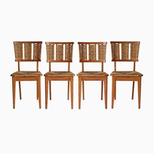 Oak & Rush Dining Chairs by Mart Stam for Van Der Kley, 1947, Set of 4