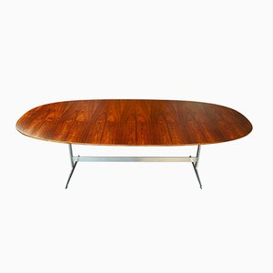 D614 Super-Elliptical Rosewood Table on Shaker Base by Hein, Jacobsen, & Mathsson for Fritz Hansen, 1970