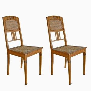 Deutsche Antike Vintage Buchenholz Esszimmerstühle, 2er Set