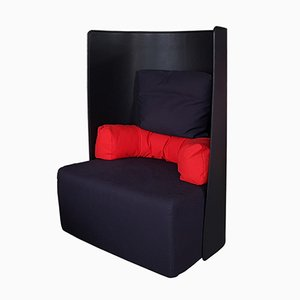 Black & Red Armchair by De Pas, D'Urbino, and Lomazzi for Zanotta, 1984