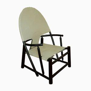 Geschwungener Dänischer Sessel aus Schwarzem Holz von Piero Palange & Werther Toffoloni, 1950er