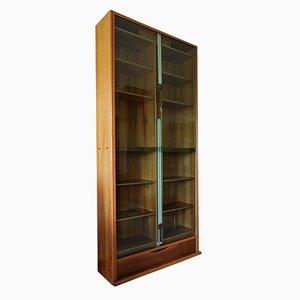 Walnuss & Grünes Glas Bücherregal von Carlo Scarpa für Bernini, 1970er