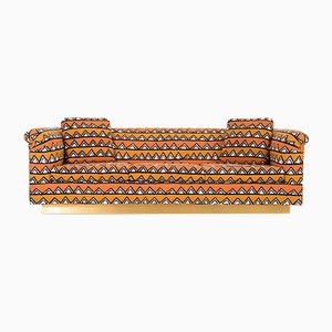 Vintage Rounded Barrel Back Brass Platform Sofa by Richard Himmel