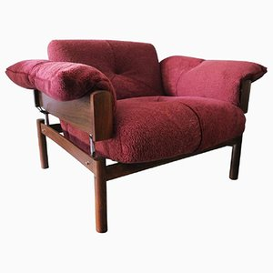 Brazilian Rosewood & Lambswool Lounge Chair from Percival Lafer, 1970s
