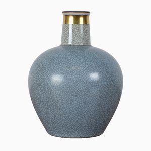 Blaue Mid-Century Krakelee Vase von Royal Copenhagen