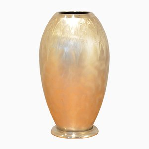 German Art Deco Brushed Metal Ikora Vase from WMF