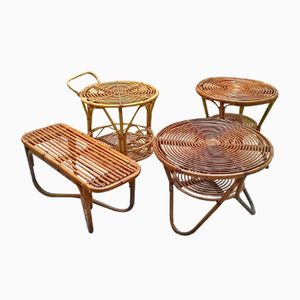 Low Italian Rattan Tables from Pierantonio Bonacina, 1950s, Set of 4