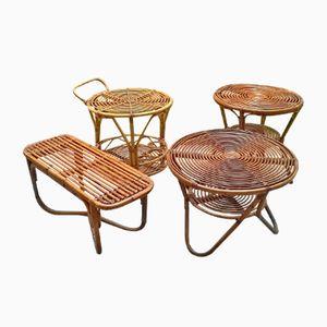 Niedrige Italienische Rattan Tische von Pierantonio Bonacina, 1950er, 4er Set