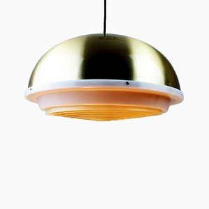 Space Age Brass Pendant with White Grid from Lyfa, 1960s