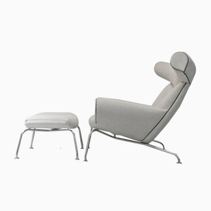 Ox Chair & Footstool by Hans Wegner for Erik Jorgensen, 1980s