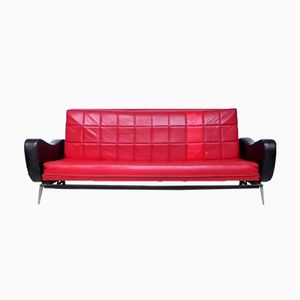 Vintage Black and Red Skai Sofa Bed, 1950s
