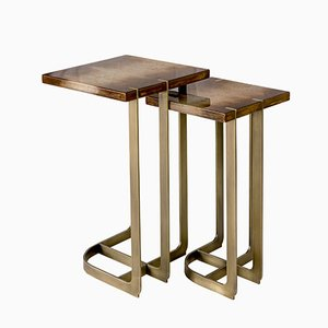 Mondrian Brass Plated Side Table by 15 West Studio