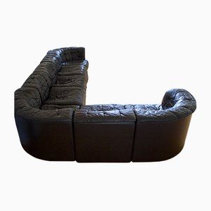 Modular Black Leather Sofa from de Sede, 1970s