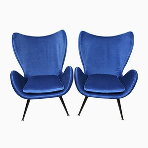 Vintage Blue Velvet Armchairs, Set of 2