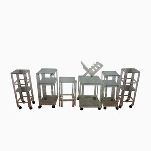 Spanish Lucite 7-Piece Set with Trolleys and Side Table, 1980s