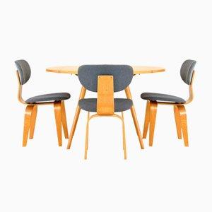Table Vintage à Abattants avec 3 Chaises par Cees Braakman for Pastoe
