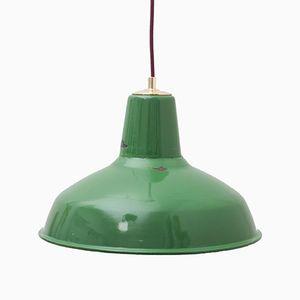 Industrielle Grüne Vintage Hängelampe mit Schirm aus Messing