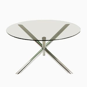 Dining Table with Chromed Metal Base from Roche Bobois, 1970s