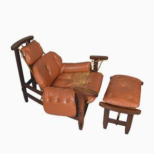 Vintage Captain's Chair mit Ottomane von Jean Gillon für Italma Wood Art