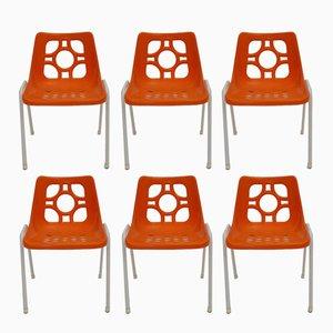 Orange Garden Plastic Chairs, 1970s, Set of 6